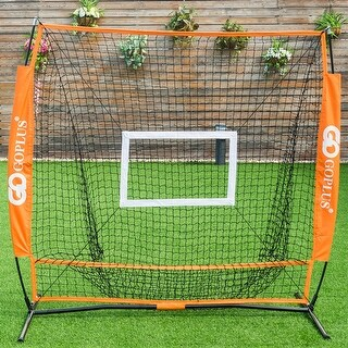 Goplus 5'x5' Baseball Softball Practice Hitting Batting Training Net Bow Frame w/ Bag