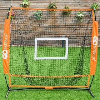 Goplus 5'x5' Baseball Softball Practice Hitting Batting Training Net Bow Frame w/ Bag - Orange