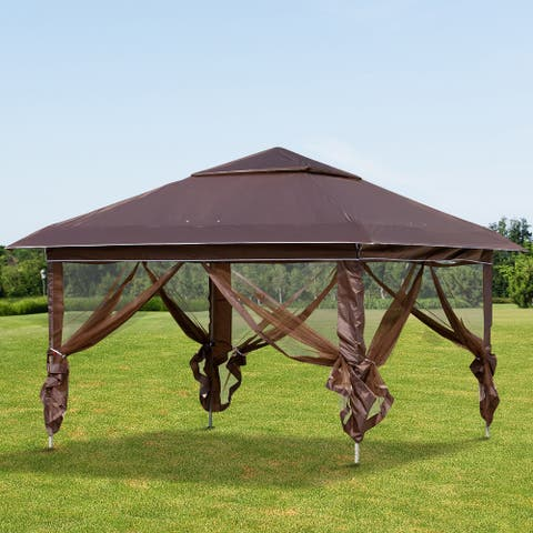 Outsunny 12' x 12' Outdoor Pop-Up Party Tent Canopy with Mesh Sidewalls, 3-Level Adjustable Height, & Handy Bag