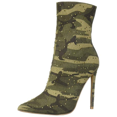 Steve Madden Womens Wagu Fabric Pointed Toe Ankle Fashion Boots