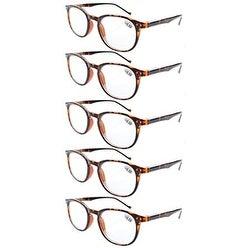 Eyekepper 5-Pack Spring Hinges 80's Classic Reading Glasses Tortoise +3.50