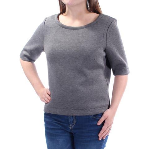 KIIND OF Womens Gray 3/4 Sleeve Jewel Neck Top Size: M