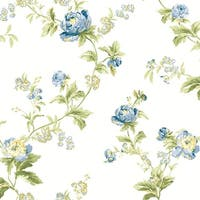York Wallcoverings WA7752 Waverly Classics Forever Yours Trail Wallpaper - eggshell/gray blue/cobalt blue/sage/amber
