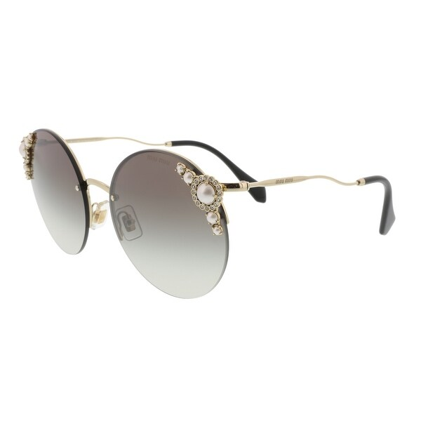 7982bf5f609c9 Miu Miu MU 52TS VW75O0 Core Collection Pale Gold Round Sunglasses - 60-18-