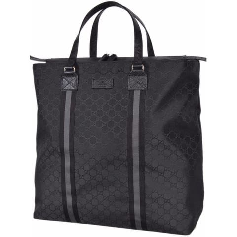 "Gucci 449179 Black Nylon GG Guccissima Web Trim XL Zip Close Tote Purse Bag - 17"" x 17.5"" x 6"""
