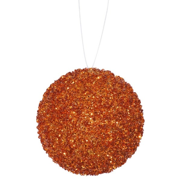 "4ct Orange Sequin and Glitter Drenched Christmas Ball Ornaments 4"" (100mm)"