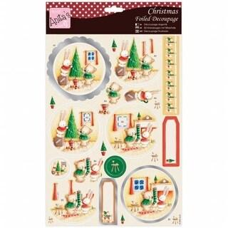 Docrafts Anitas A4 Foiled Decoupage Sheet - Rabbit & Bear Christmas