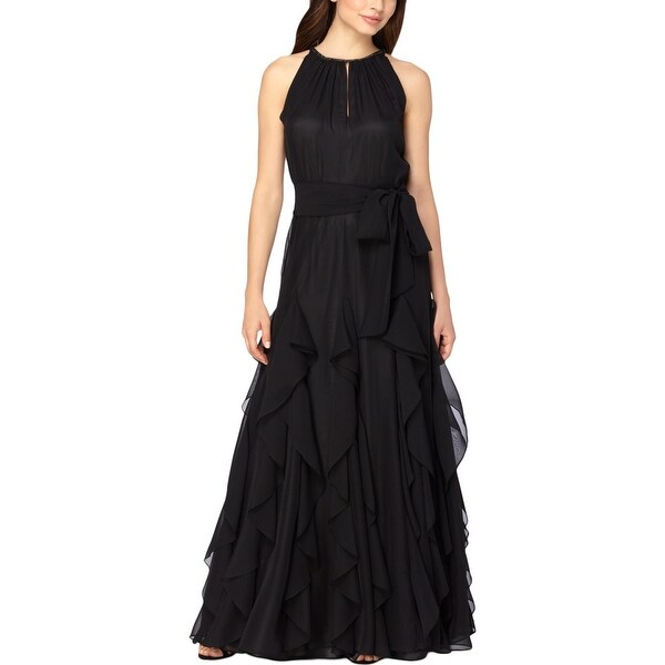 Tahari Asl Womens Evening Dress Ruffled Embellished
