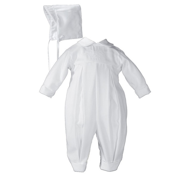Baby Boys White Long Sleeve Embroidered Pleated Hat Christening Outfit