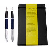 Cross Calais Medium Stainless Steel Nib Fountain Pen Blue Lacquer Gift Set