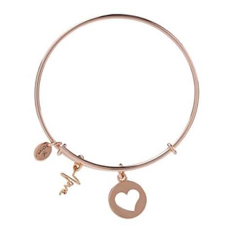 Heartbeat Love Charm Expandable Bangle Bracelet, Rose Gold Plated