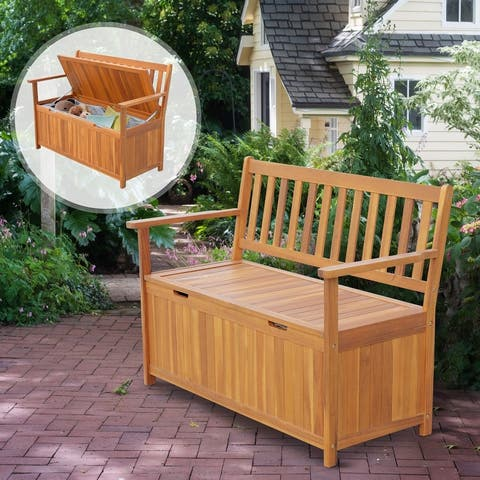 """Outsunny 47"""" Wooden Outdoor Storage Bench with Removable Waterproof Lining"""