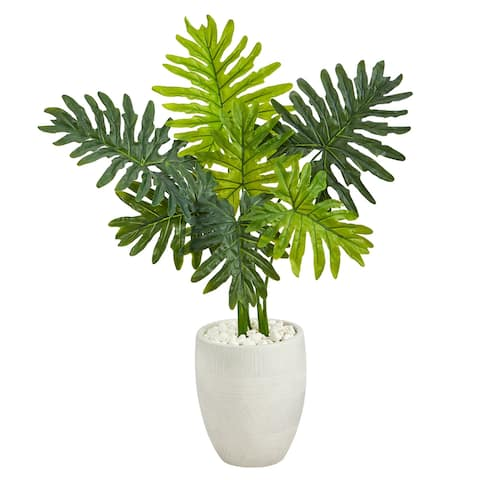 """40"""" Philodendron Artificial Plant in White Planter (Real Touch)"""