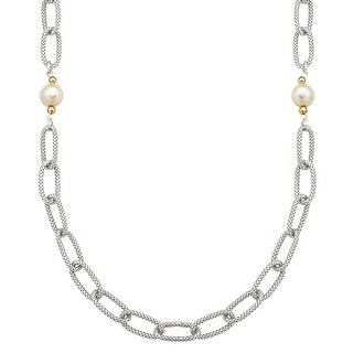 Freshwater Pearl Link Necklace in Sterling Silver and 14K Gold