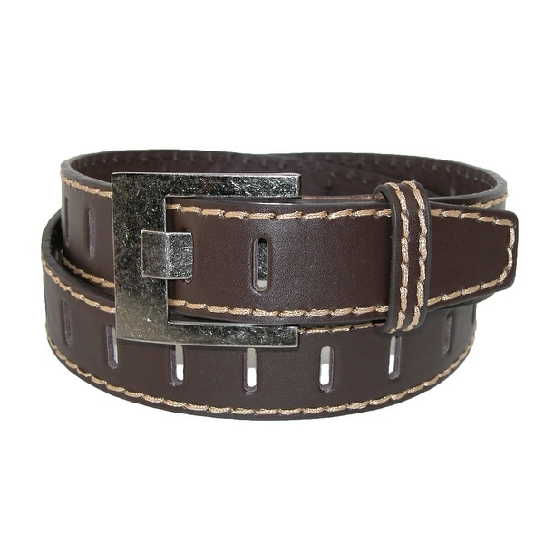 CTM® Men's Leather 1 1/2 Inch Perforated Jean Belt