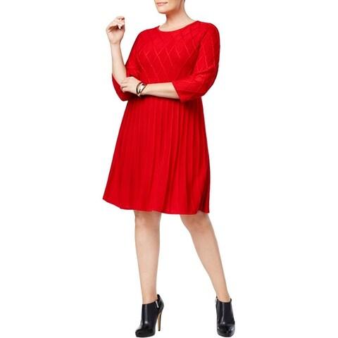 Jessica Howard Womens Plus Sweaterdress Knit Knee-Length
