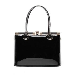 Style Strategy Beryl Patent Leather Bag Black
