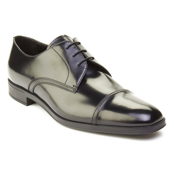 Prada Men's Leather Oxford Derby Dress Shoes Black