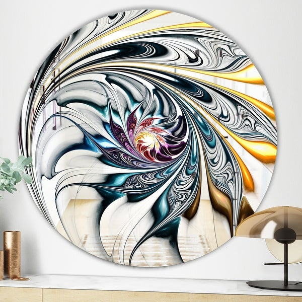 Designart 'White Stained Glass Floral Art' Modern Mirror - Contemporary Oval or Round Wall Mirror. Opens flyout.