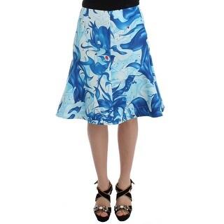 Koonhor Koonhor Blue Peplum Fresco-Print Straight Pencil Skirt