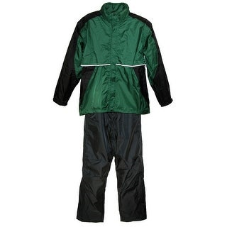 ShedRain Men's Two Tone Pant and Jacket Golf Rain Suit - hunter green and black