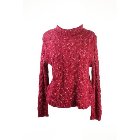 Kensie Red Long-Sleeve Marled-Knit Turtle Neck Sweater L