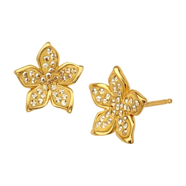 Flower Stud Earrings with Swarovski Crystal in 14K Gold-Plated Sterling Silver - YELLOW