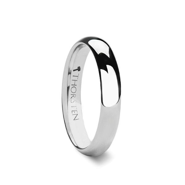 THORSTEN - ARLINGTON Domed White Tungsten Ring for Men - 4mm