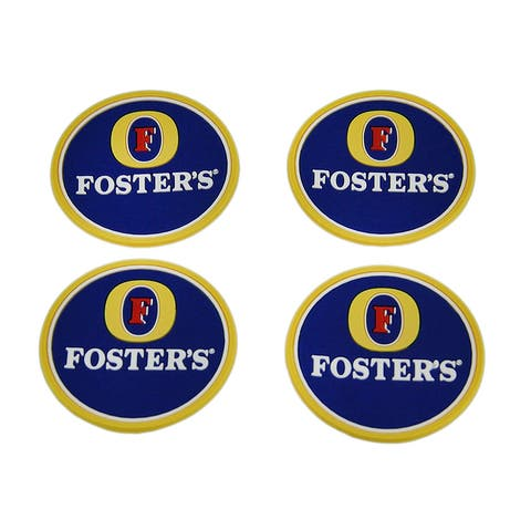 Set of 4 Fosters Beer Rubber Coasters Mini Beverage Mats - 0.13 X 2.5 X 2.5 inches