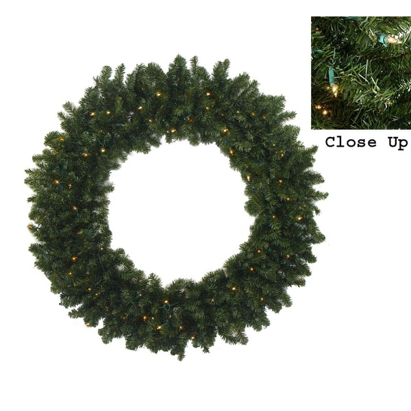 """48"""" Pre-Lit Canadian Pine Artificial Christmas Wreath - Clear Lights"""