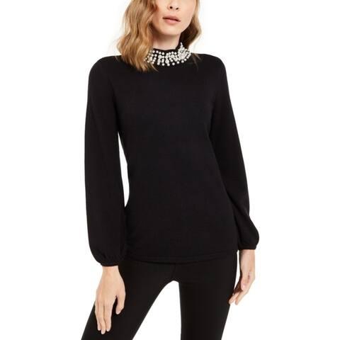 ALFANI Womens Black Solid Long Sleeve Crew Neck Blouse Top Size PM