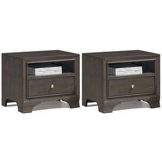 Gymax 2PCS Vintage Nightstand Solid Wood Sofa Side End Table W/ USB Port & Drawer Grey