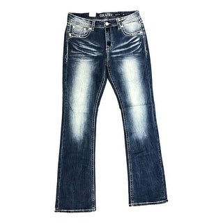 Grace in LA Denim Jeans Womens V Stitching Easy Fit Med Wash