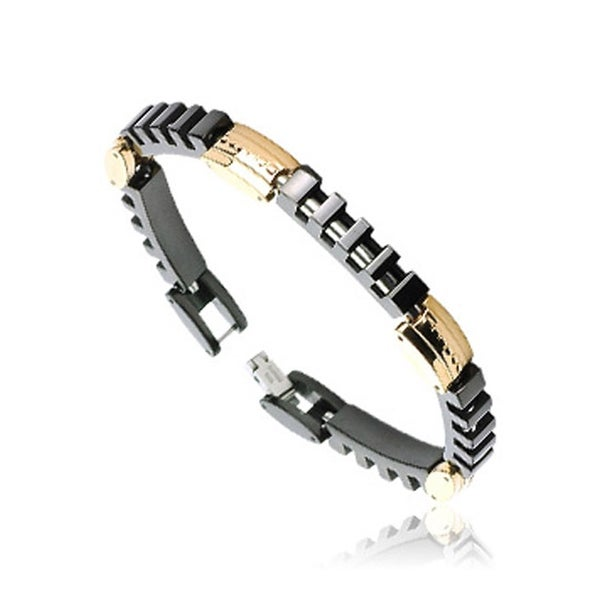 Stainless Steel Link Bracelet with Segmented Black Rectangles (8 mm) - 8.5 in