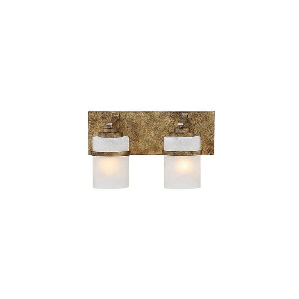 "Millennium Lighting 3302 Benton 2 Light 18"" Wide Vanity Light with Etched Glass Cylinder Shades - vintage gold"