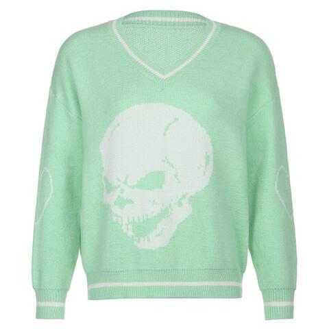 Women Autumn V Neck Long Sleeve Skull Heart Print Loose Knitted Sweater Pullover