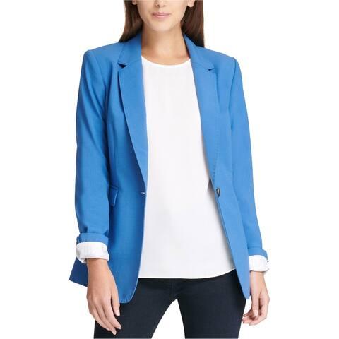 DKNY Womens Stitch One Button Blazer Jacket, blue, 14 ()