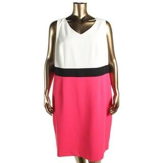 Kasper Womens Plus Graphic Garden Wear to Work Dress Colorblock Sleeveless