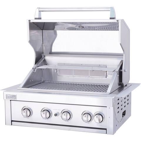 """Outdoor Kitchen Built-In 32"""" 4 Burner BBQ Grill with Back Burner LJ"""
