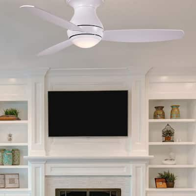 Modern White Outdoor Ceiling Fan with LED Light and Remote Control