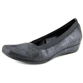 Vaneli Grassy Open Toe Leather Wedge Heel