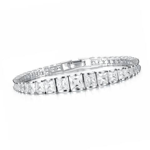Sterling Silver Cubic Zirconia Graduated Bracelet