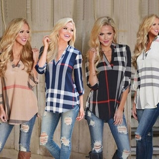 Link to Plaid Print V-Neck Sleeve T-Shirt Similar Items in Tops