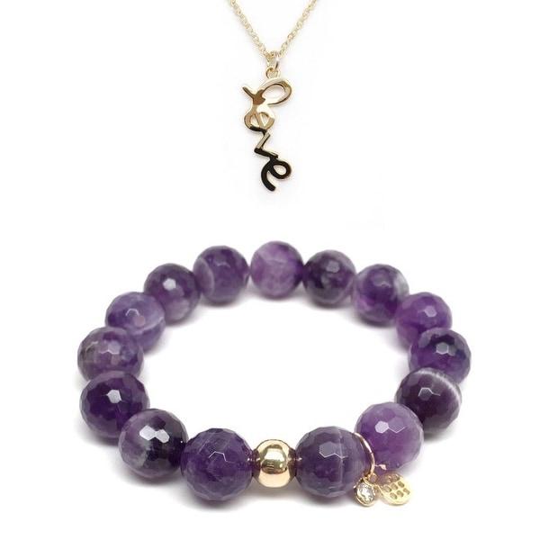 "Purple Amethyst 7"" Bracelet & Love Gold Charm Necklace Set"