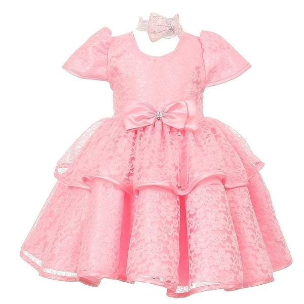 Baby Girls Pink Floral Embroidered Lace Overlay Bow Flower Girl Dress 6-24M