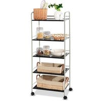 Costway 5 Tiers Storage Cart Rack Mesh Shelf Utility Organizer Casters Multifunction - White&Black
