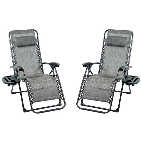 Patio Premier 2PK Gravity Chairs with Big Cupholder - Grey