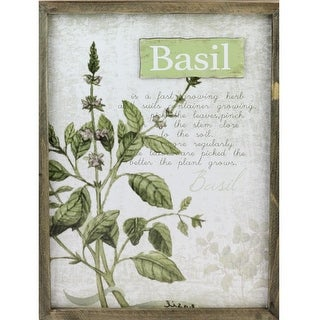 """15.75"""" Decorative Basil Herb Wood Framed Wall Hanging Plaque"""