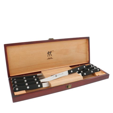 ZWILLING TWIN Gourmet Classic 8-pc Steak Knife Set with Wood Case - Black/Stainless Steel