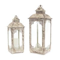 """Set of 2 Clear and Ivory White Candle Holder Lantern 22"""""""